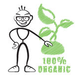 Stick figure with symbol 100% Organic Stock Image