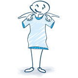 Stick figure with T-Shirt. And clothes shop Stock Photo