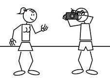 Stick figure taking a picture Stock Photo