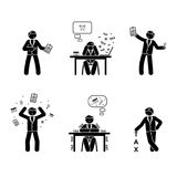 Stick figure tax season set. Paperwork, payments, accounting vector illustration on white Stock Images