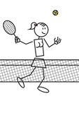 Stick figure tennis female. Stick figure of a girl playing tennis. Sports and leisure concept Royalty Free Stock Photo