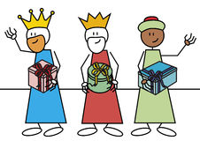 Stick figure three wise men. Stick figures of the three wise menwith gifts. Spanish traditional characters that give gifts to the child's in epiphany time Stock Photos