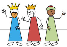 Stick figure three wise men. Stick figures of the three wise men. Spanish traditional characters that give gifts to the child's in epiphany time Stock Images