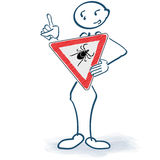 Stick figure with a ticks sign before the body. Stick figure with a tick bites sign before the body Stock Photography