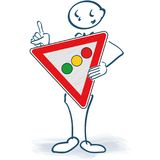 Stick figure with a traffic light sign Royalty Free Stock Photo