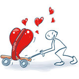 Stick figure with a transport cart full of hearts. Stick figure with a transport cart full of big hearts Royalty Free Stock Photography