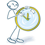 Stick figure turns a clock. And time Stock Images