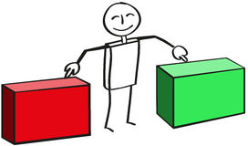 Stick figure with two boxes. Male shows satisfied on red and green crate Stock Images