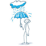 Stick figure with umbrella and cloud. Stick figure with umbrella and rainy cloud Royalty Free Stock Photo