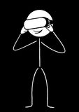 Stick figure with virtual reality. Drawing on a black background Royalty Free Stock Images