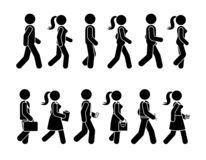 Stick figure walking man and woman vector icon pictogram. Group of people moving forward sequence set. Stick figure walking man and woman vector icon pictogram stock illustration