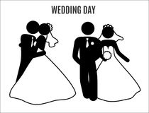 Stick figure wedding couples. With different pose Royalty Free Stock Photo