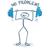 Stick figure with weight lifting and no problems Royalty Free Stock Image