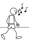 Stick figure whistling stock illustration
