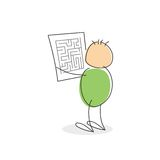 Stick Figure With Green Colored Round Body