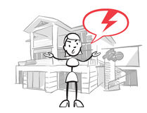 Stick figure woman house insurance case. Stickman vector drawing on white background Royalty Free Stock Photography