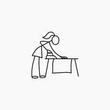 Stick figure woman ironing. Stick figure housewife woman ironing vector Stock Photography