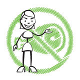 Stick figure woman without meat symbol Royalty Free Stock Photography