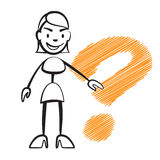 Stick figure woman with question mark. Stickman vector drawing on white background Royalty Free Stock Images