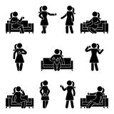 Stick figure woman relaxing on sofa set. Vector illustration of drinking coffee pictogram on white. Stick figure woman relaxing on sofa set. Vector illustration Royalty Free Stock Photography