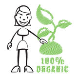 Stick figure woman with symbol 100% Organic Royalty Free Stock Images