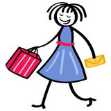 Stick figure woman wearing blue dress going shopping holding red bag and yellow clutch purse. Isolated on white background Stock Photography