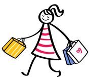 Stick figure woman wearing striped dress going shopping holding bags. Isolated on white background Royalty Free Stock Images