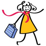 Stick figure woman wearing yellow dress and red scarf going shopping holding shopping bag. Isolated on white background Stock Photo