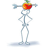Stick figure with wounded apple and arrow on the head. Stick figure with wounded apple and arrow on his head Royalty Free Stock Image