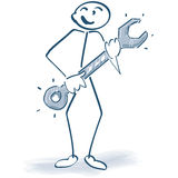 Stick figure with a wrench Royalty Free Stock Photos