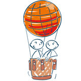 Stick figures in air balloon in the sky Royalty Free Stock Photography