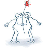 Stick figures as lovers with heart Royalty Free Stock Photography