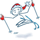 Stick figures as Nicholas skiing. Down the hill Stock Image