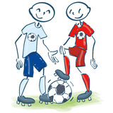 Stick figures as soccer friends. Stick figures as good soccer friends Royalty Free Stock Photography