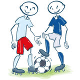 Stick figures as soccer players in white-red and blue. Shirts Royalty Free Stock Images