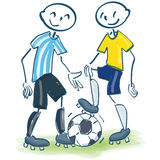 Stick figures as soccer players in yellow and blue Stock Images
