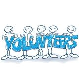 Stick figures as volunteers. Stick figures with posters as volunteers stock illustration