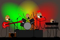 Stick figures band give a rock concert. Illustration of a funny Stick figures band giving a rock concert Royalty Free Illustration