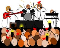Stick figures band give a rock concert. Illustration of a funny Stick figures band giving a rock concert Stock Illustration