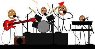 Stick figures band give a rock concert. Illustration of a funny Stick figures band giving a rock concert Vector Illustration