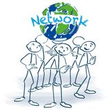 Stick figures and network around the world. Stick figures and big network around the world Royalty Free Stock Images