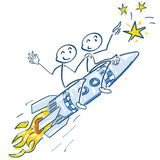 Stick figures with blasting rocket to the stars Royalty Free Stock Photos