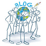 Stick figures with a blog around the world Royalty Free Stock Photos