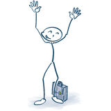 Stick figures with briefcase and having his arms in the air. Stick figures with briefcase looking forward and having his arms in the air Stock Photography