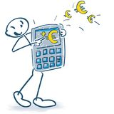 Stick figures with calculator and euros. Stick figures with calculator with many euros Royalty Free Stock Photo