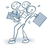 Carrying an injured colleague with a bag. Stick figures carrying an injured colleague with a bag Royalty Free Stock Images