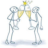 Stick figures with champagne glasses. And party Royalty Free Stock Photos