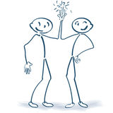Stick figures clapping together. And friendship stock illustration
