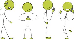 Stick Figures Communicating with Smartphones Royalty Free Stock Photo