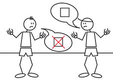 Stick figures controversy vector illustration